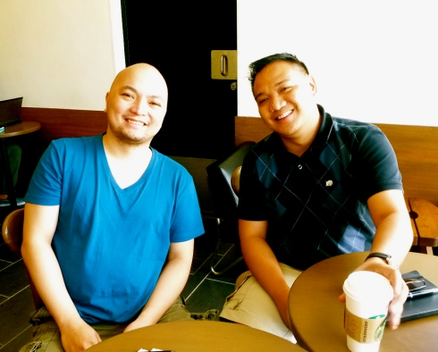 Peter Cauton and Rex Marzan at 1st Startup Saturday of 2013, Starbucks, Libis