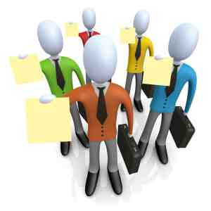 Clipart Illustration of a Group Of Businessmen In Colorful Shirts, Carrying Briefcases And Holding Their Resumes Up At A Job Interview